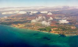 Aerial photo of the ʻEwa Beach area of Oʻahu