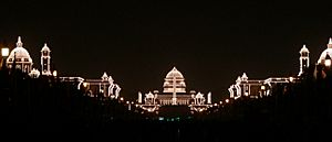 Rashtrapati Bhavan and adjacent buildings, illuminated for the Republic Day