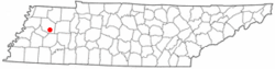 Location of Gibson, Tennessee