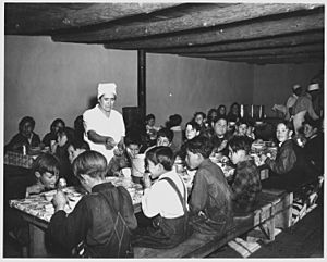 Taos County, New Mexico. The hot lunch, school at Penasco. Children pay about 1 cent daily for thi . . . - NARA - 521840