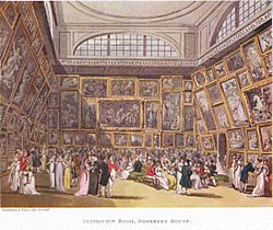 The Exhibition Room at Somerset House by Thomas Rowlandson and Augustus Pugin. 1800.