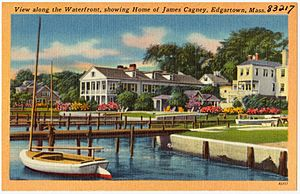 View along the Waterfront, showing home of James Cagney, Edgartown, Mass (83217)