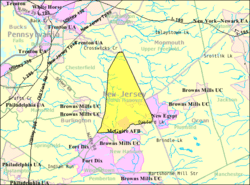 Census Bureau map of North Hanover Township, New Jersey