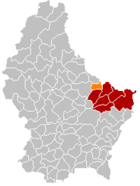 Map of Luxembourg with Beaufort highlighted in orange, and the canton in dark red