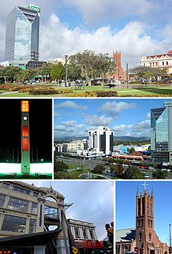 Clockwise from top: The Square, Central Business District, All Saints Church, City Library, The Square Clock Tower