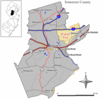 Map of Warren Township in Somerset County. Inset: Location of Somerset County highlighted in the State of New Jersey.