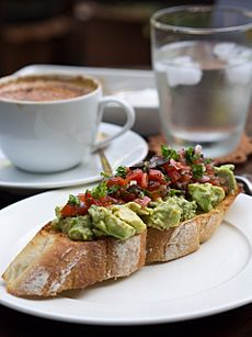 2014 avocado salad tomato salsa toasted baguette