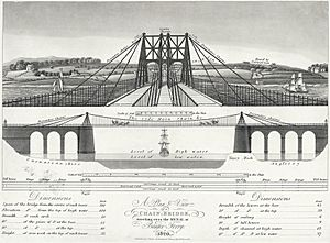 A plan & view of a chain bridge - erecting over the menai at Bangor Ferry 1820