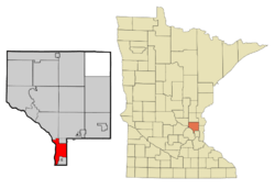 Location of the city of Fridleywithin Anoka County, Minnesota