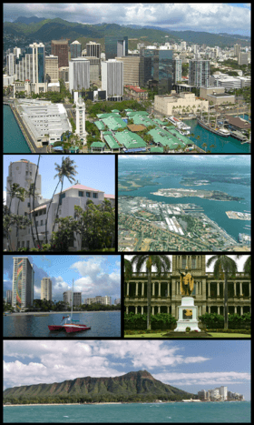 Clockwise: Aerial view of Downtown Honolulu, Pearl Harbor right outside the city, statue of King Kamehameha I in downtown, Diamond Head, waterfront on Waikiki Beach, and Honolulu Hale (City Hall)