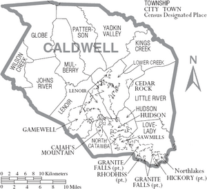 Map of Caldwell County North Carolina With Municipal and Township Labels