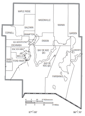 Map of Delta County Michigan With Municipal and Township Labels