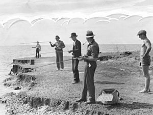 StateLibQld 2 153867 Fishing from the shore in Moreton Bay, 1936