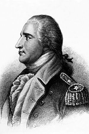 A head and shoulders profile engraving of Benedict Arnold. He is facing left, wearing a uniform with two stars on the epaulette. His hair is tied back.