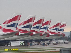 British Airways Boeing 747-400 tails at Heathrow