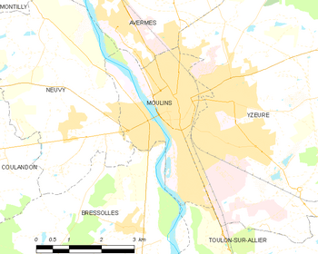 Map of the commune of Moulins