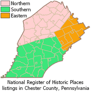 Map of Chester County Pennsylvania NRHP sites