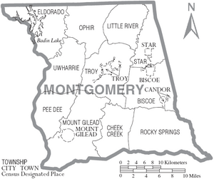 Map of Montgomery County North Carolina With Municipal and Township Labels