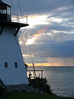 Olcott lighthouse with rainfall