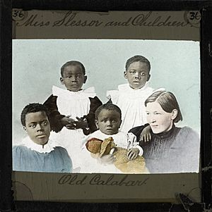 Mary Slessor and Four Children, Old Calabar, late 19th century (imp-cswc-GB-237-CSWC47-LS2-036)