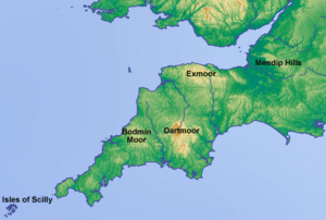 Topographic map of south-west England (labeled)