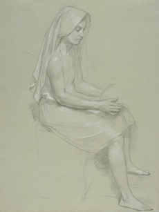 William-Adolphe Bouguereau (1825-1905) - Study of a Seated Veiled Female Figure (19th Century)