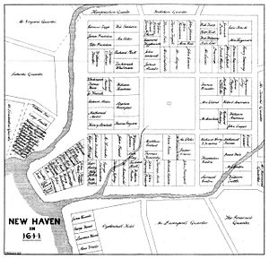 Atwater1881 p10 Map New Haven in 1641