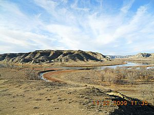 Cow Creek flowing into the Missouri River in Missouri Breaks, Montana