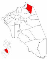 Chesterfield Township highlighted in Burlington County. Inset map: Burlington County highlighted in the State of New Jersey.