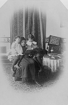 Marian Hubbard Daisy Bell and Elsie May Bell with governess