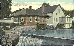 Sandy Hook post office and dam, from a postcard sent in 1914