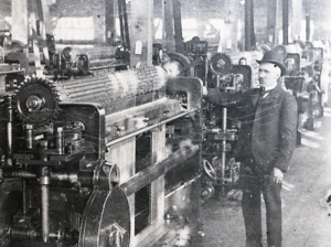 Chester Wickwire in the Wickwire Brothers Factory