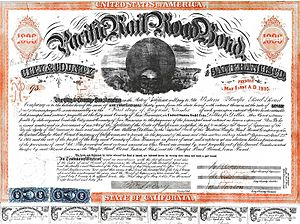 San Francisco Pacific Railroad Bond WPRR 1865