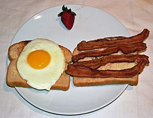 Bacon and egg sandwich - open face