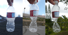 Plastic bottle at 14000 feet, 9000 feet and 1000 feet, sealed at 14000 feet