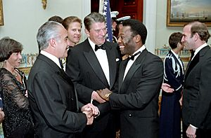 Ronald Reagan with Pele, President Sarney of Brazil