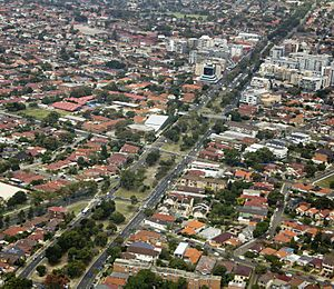 Anzac Parade through Kingsford and Maroubra from the air