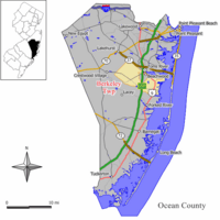 Map of Berkeley Township in Ocean County. Inset: Location of Ocean County highlighted in the State of New Jersey.