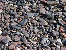 Gravel on a beach in Thirasia, Santorini, Greece