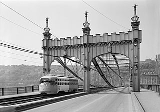 North end of Smithfield Street Bridge with trolley in May 1974 - HAER PA,2-PITBU,58-15