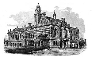 Academy Architecture 1895 Accepted Design for Rotherhithe Town Hall View from Neptune Street and Lower Road MURRAY AND FOSTER Architects