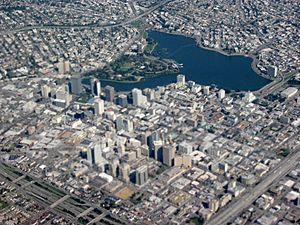 Closeup aerial view of Downtown Oakland and Lakeside Park