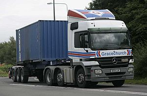Gracechurch 2004 Mercedes-Benz Actros truck with Maritime container on a skeleton trailer, 9 February 2009