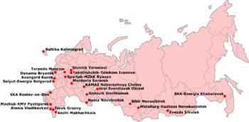 Russian First Division map
