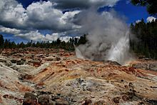 Steamboat Geyser in Yellowstone