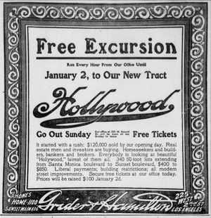 Advertisement for Hollywood, California, land sales, 1908