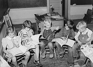 Children reading 1940