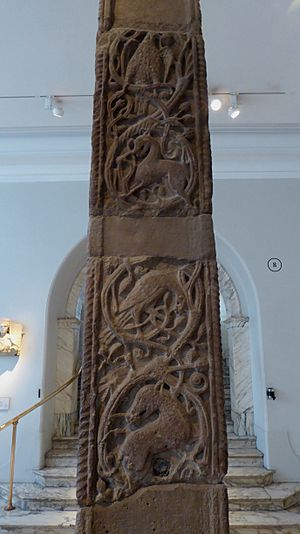 Floral and faunal designs on the Easby Cross