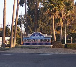 Grover Beach Welcome Sign at the corner of Hwy 1 and West Grand Ave