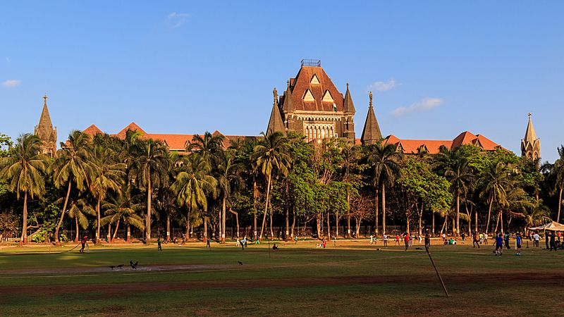 A brown building with a central tower and sloping roofs surrounded by trees. A grassy ground and a coconut tree are in front of it.